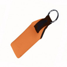 Брелок-поплавок оранжевого кольору з чорним ремінцем 195385 під логотип
