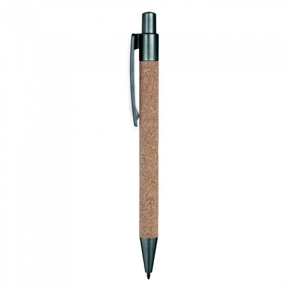 Незвичайна ручка з коркового матеріалу з пластиковими елементами під друк логотипу