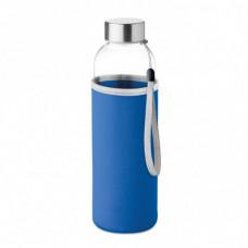 Стильна пляшка для води зі скла в чохлі, з назвою UTAH GLASS, під логотип