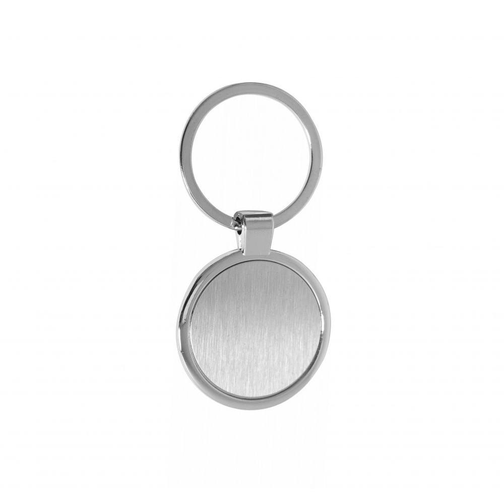 Брелок в полукруглой форме из металла, с названием Circle под гравировку логотипа