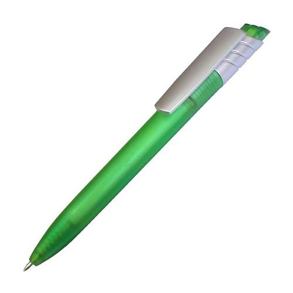 Ручка из полупрозрачного, цветного пластика с серебристым элементом 895269 под печать