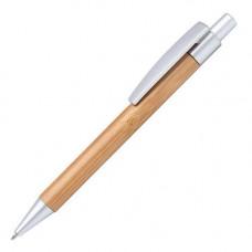 Ручка в бамбуковому, міцному корпусі з кольоровими деталями, 953993 під друк логотипу