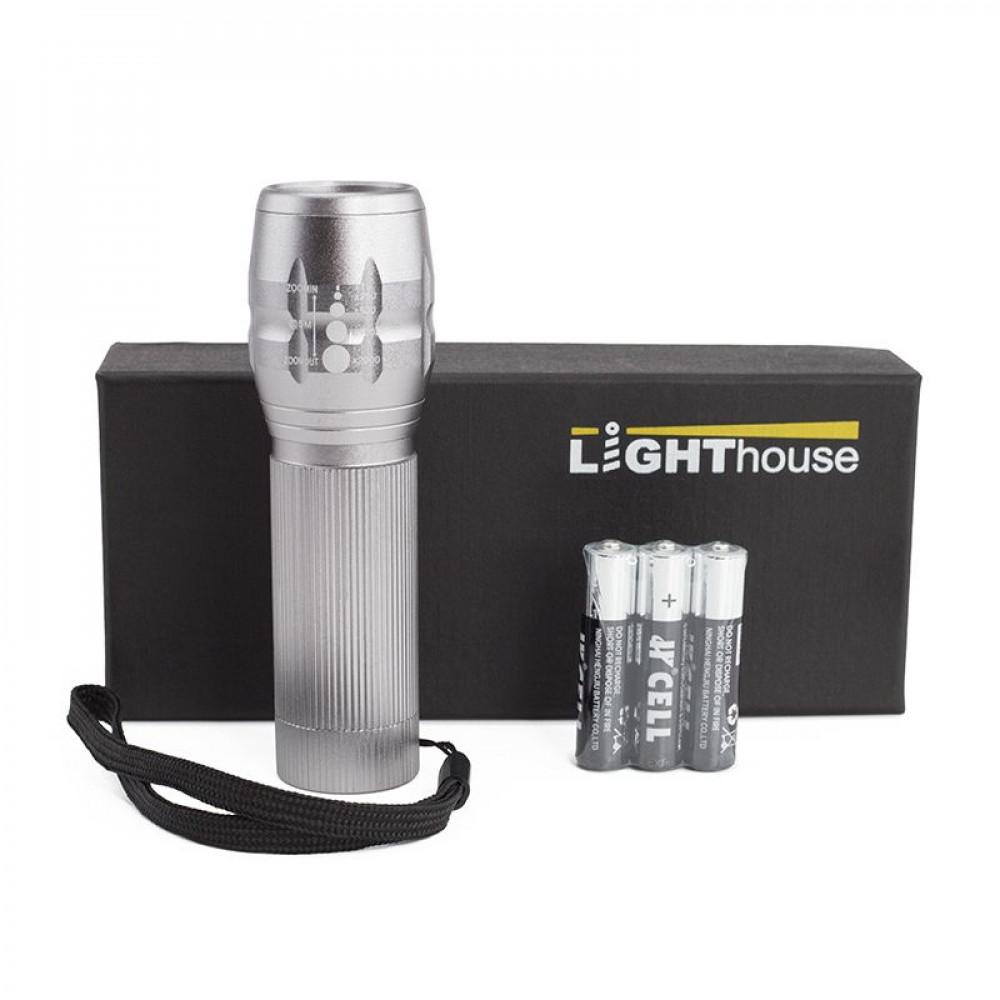 Супер ліхтар вологозахищений Pocket з LED діодами і лінзою в металевому корпусі з 3 режимами роботи під гравіювання