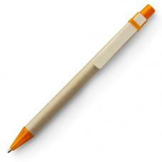 Ручка картонна з кольоровими елементами та дерев'яним кліпом 952019 під друк