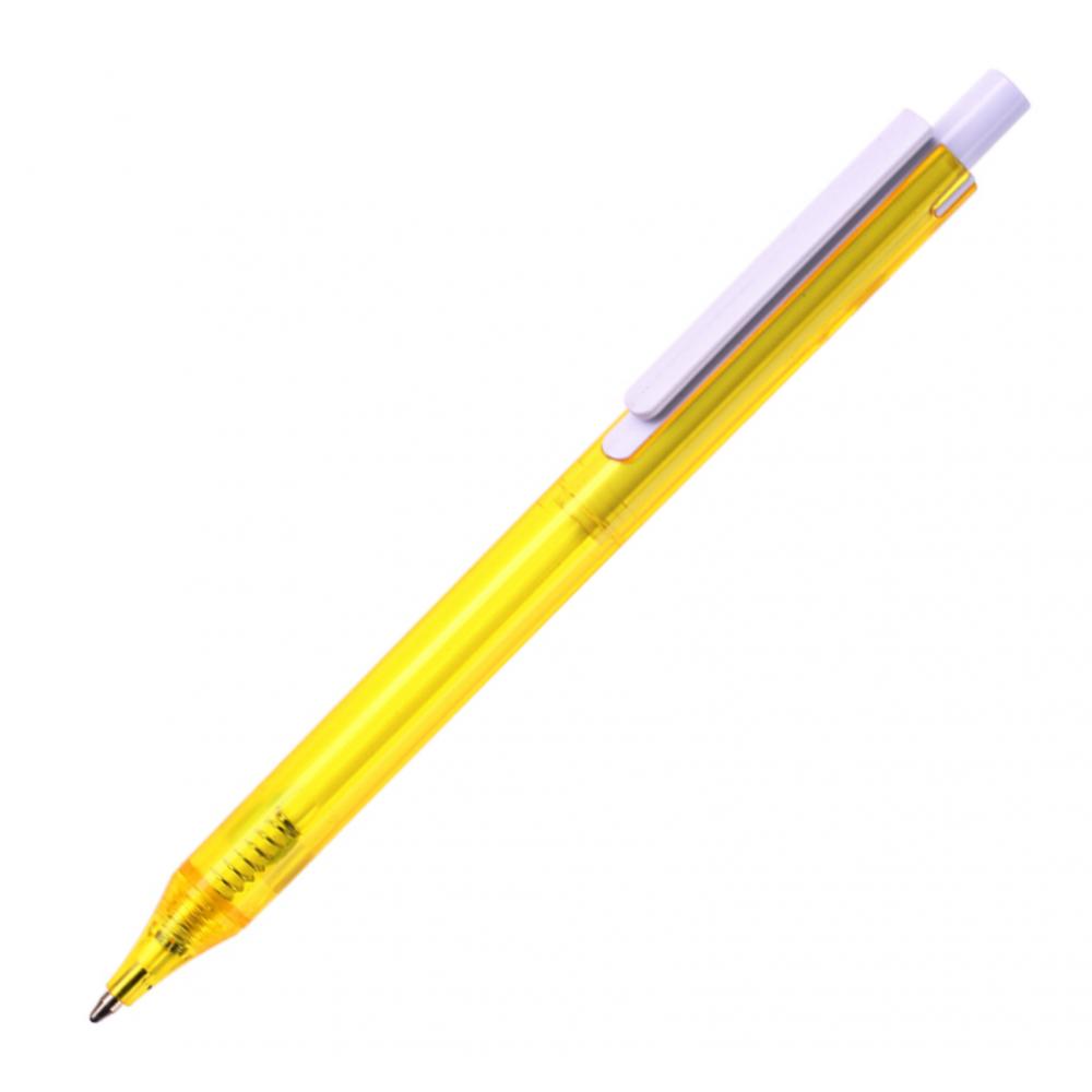 Ручка кулькова, з напівпрозорого кольорового пластику з білим кліпом New York, ТМTotobi
