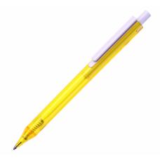 Ручка шариковая, из полупрозрачного цветного пластика с белым клипом New York, ТМTotobi