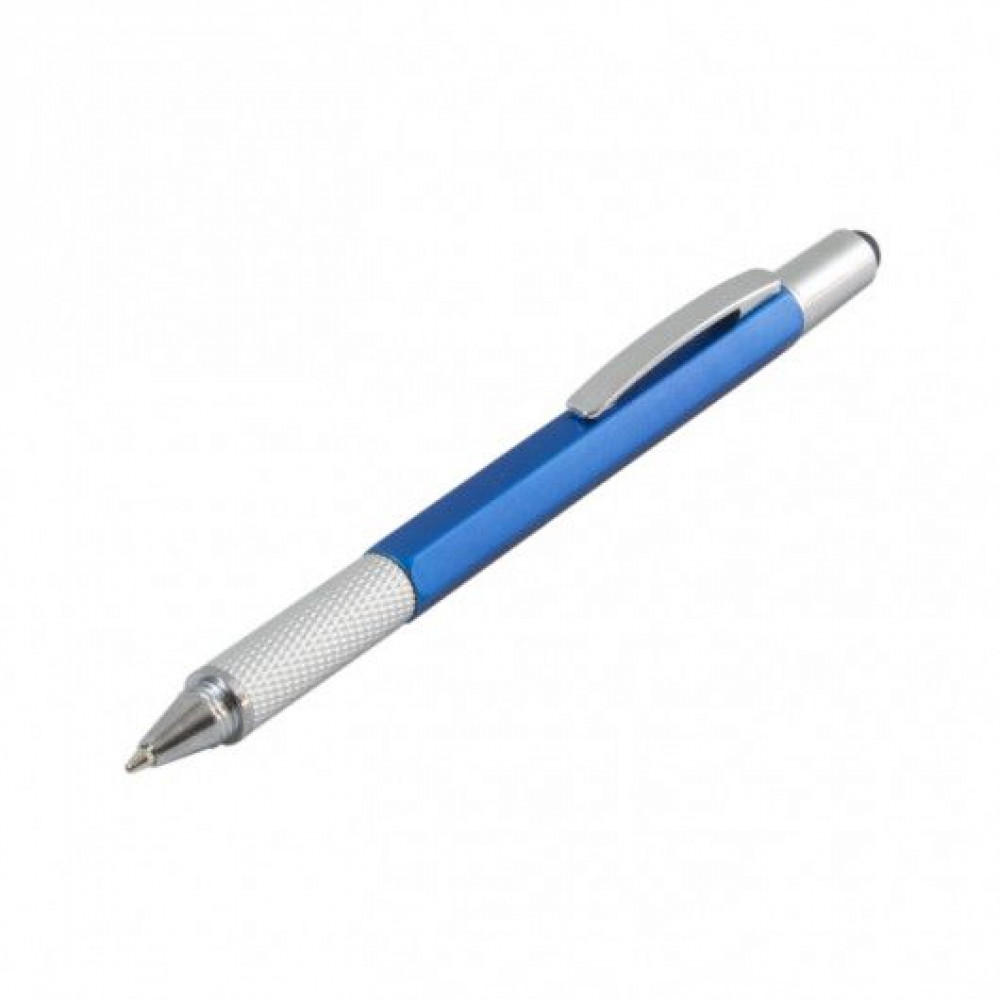 Ручка с названием MULTI-TOOL PLAST, мультифункциональная 5 в 1, в пластиковом корпусе, 110070, под тампо-печать