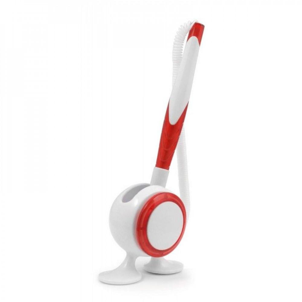 Ручка на підставці зі шнурком, в пластиковому корпусі, 6100, під тампо-друк логотипу